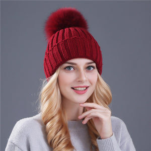 Solid Color Wool Hat with Large Pom Pom