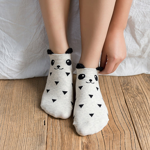 3 Pairs of Cute Panda Ankle Socks