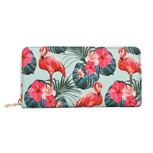 Leather Wallet with Flamingo Prints