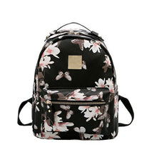 Leather Backpack with Flower Print