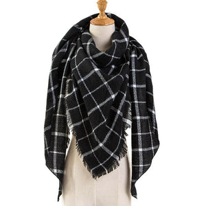 Plaid Blanket Scarf with Square Patterns