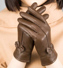 Leather Gloves with a Ribbon