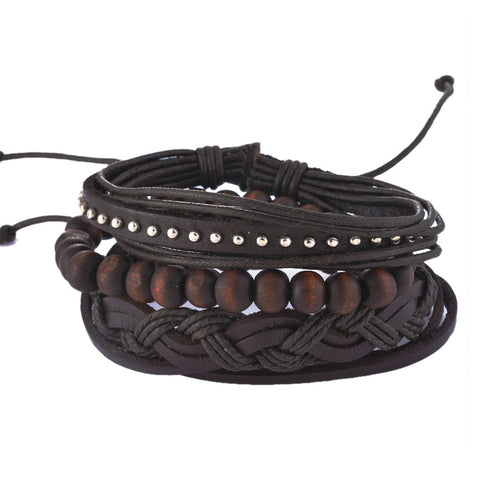 Leather Bracelet with Wooden Beads