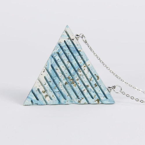 Handmade Blue Clay Triangle Necklace