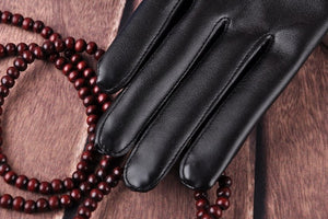 Leather Rabbit Fur Gloves