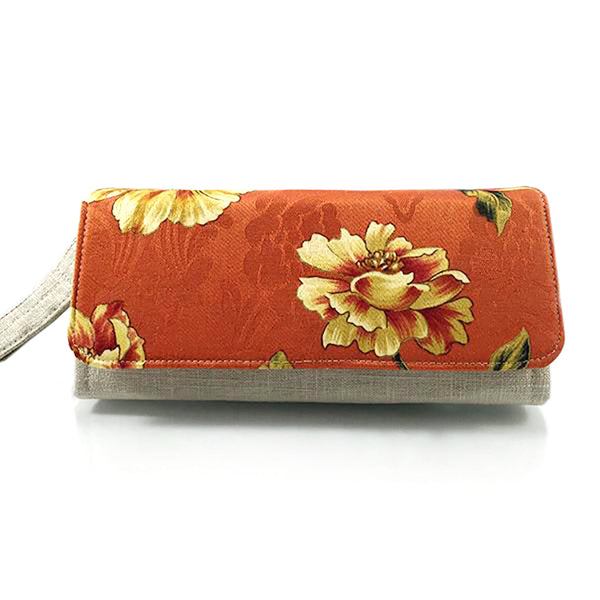 Floral Wallet on a paprika background