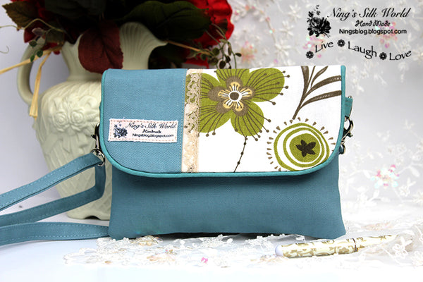 Floral Light Blue Double Pocket Cross-Body