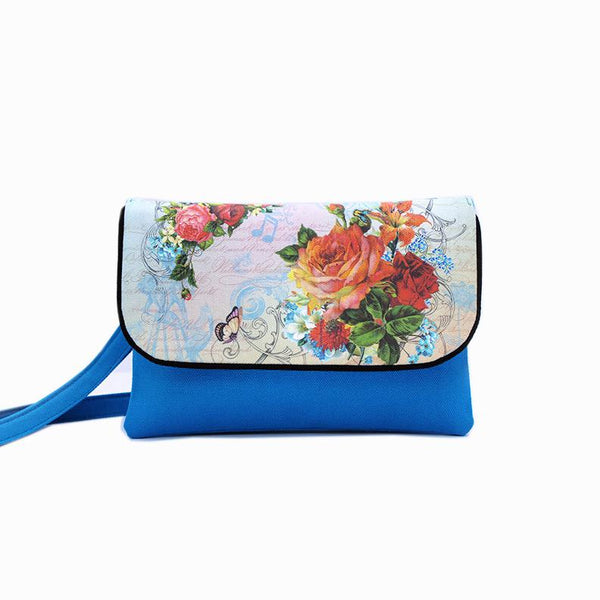 Floral Flap Cross-Body Double Pocket Bag