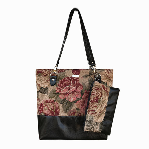 Rose Tapestry Tote Bag Wallet Set