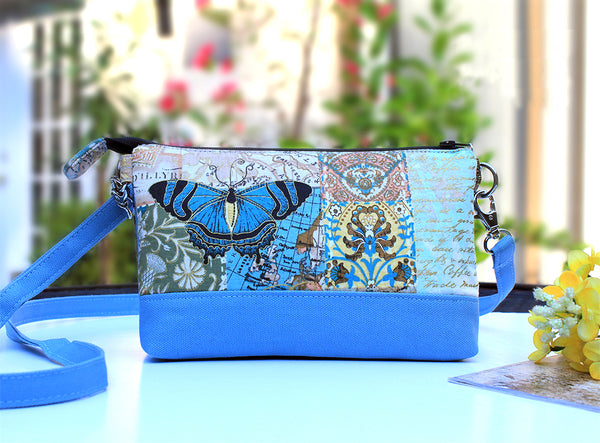 Vintage Butterfly Sailing Double Pocket Cross-Body