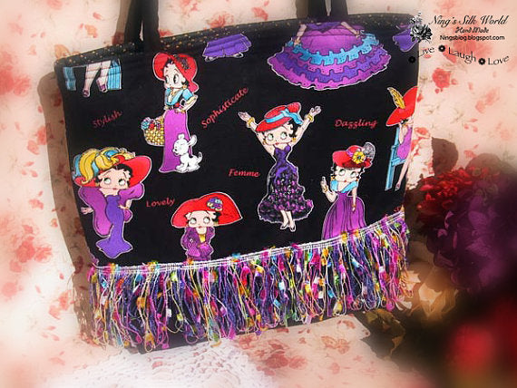 Betty Boop Tote Bag with fringe Trim
