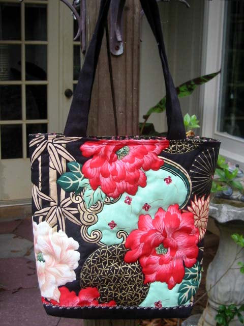 Quilt Asian Floral Tote Bag with Magnetic Snap closure