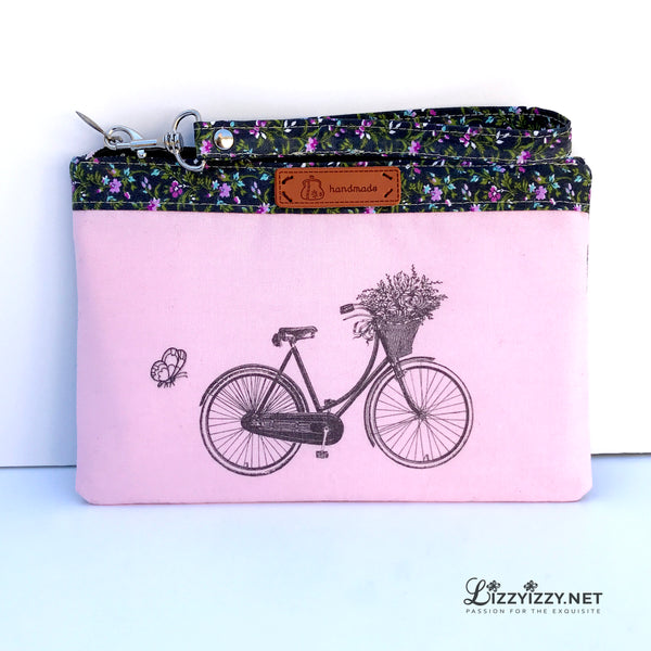 Bike in pink cellphone wristlet