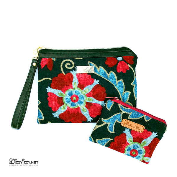 Jaclyn Smith Floral Wristlet with Matching coin purse
