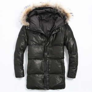 Men Long Black Casual Leather Down Jacket Men Winter Thick Warm Russian Leather