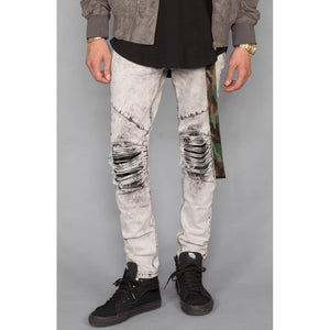 Acid Wash Moto Patch Jeans (Ice Grey)