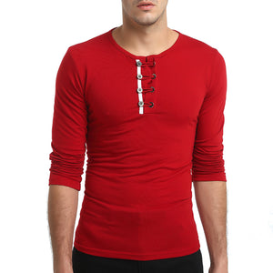 Long Sleeve Buttons Solid Simple T Shirt O-Neck