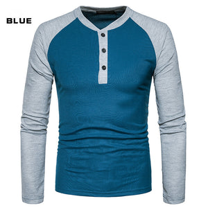 Mens Hit Color Casual T-shirt O-neck Long Sleev
