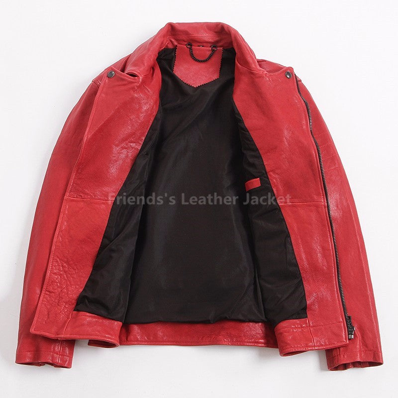 Men Red Leather Motorcycle Jacket Diagonal Zipper Plus Size