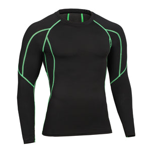 Long Sleeve T shirts Bodybuilding Tops Striped T-shirt Thermal Fitness Jogging Tees SLim Fit Casual Shapewear Sportwears Black