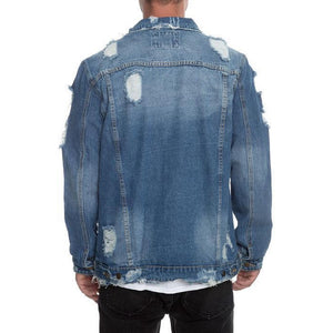 Distressed Ripped Denim Jacket in Indigo