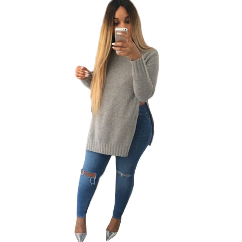 Spring Fashion Women Solid Color Loose Pullovers Unique Style Long sleeve Women's Sweatshirts 2 Colors