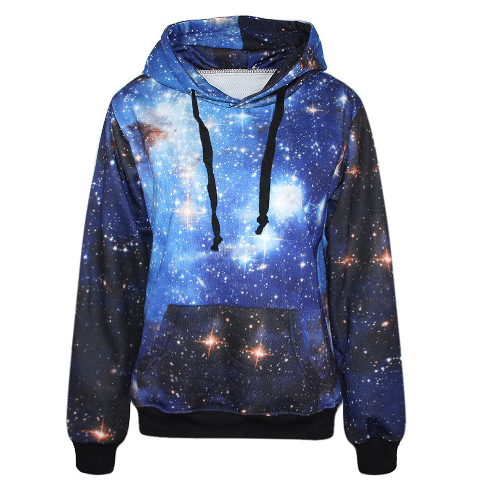 2016 New Fashion Women Hoodies With Pocket 3D Galaxy Print Punk Women Sweatshirt Casual Long Sleeve Hooded Pullovers