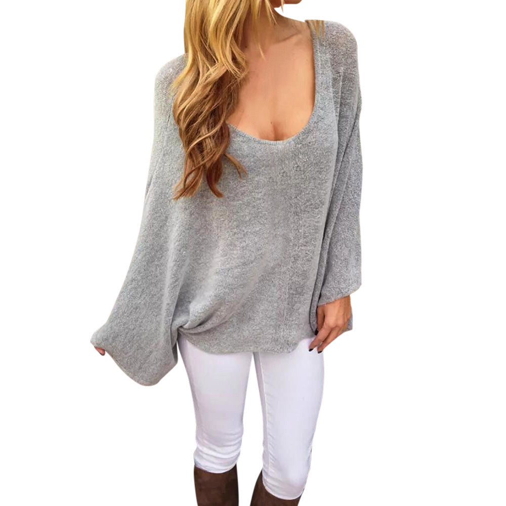Round Neck Bat Sleeves Long Sleeve