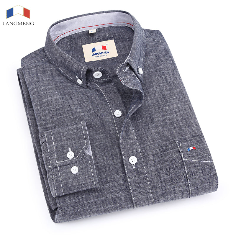 Langmeng 100% bamboo cotton spring autumn male long sleeve casual shirt