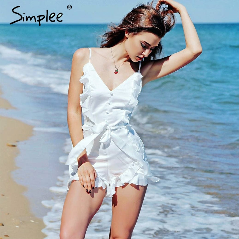 Simplee V neck Ruffle Bow Satin Jumpsuit