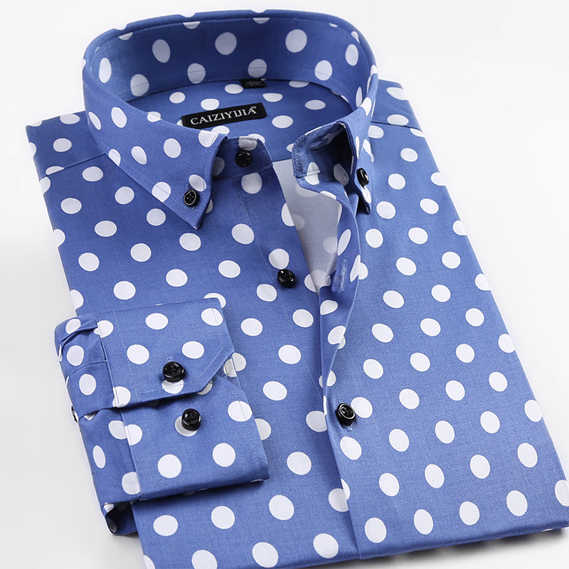 Casual Men's Long Sleeve Polka Dot Pattern Dress Shirt