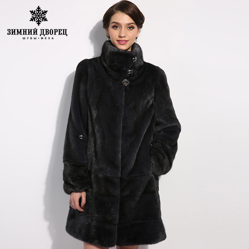 WINTER PALACE New style fashion fur coat,Genuine Leather,Mandarin Collar