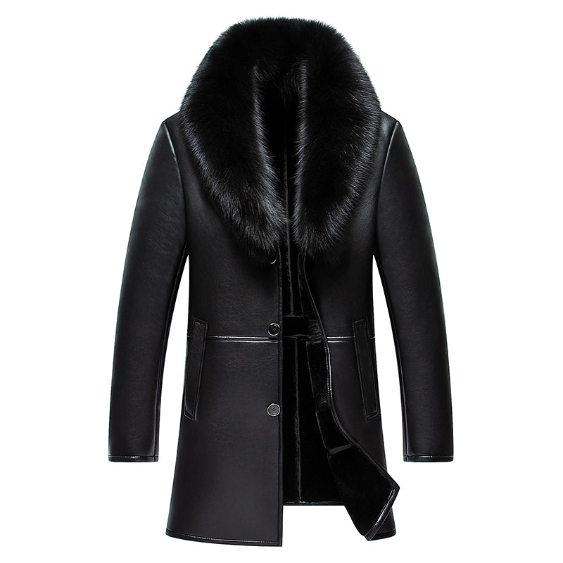 2017 New Arrival Long Real Big Fur Collar Men's Winter Leather Jacket High Quality Thick Warm Leather Men Coat