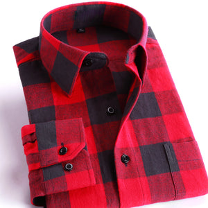 Men's 100% Cotton Casual Plaid Shirts Pocket Long Sleeve