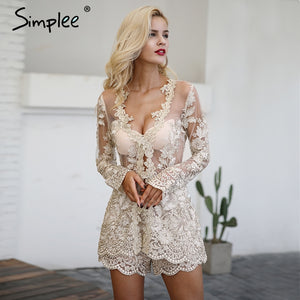 Simplee Sparkling Sexy Lace Jumpsuit