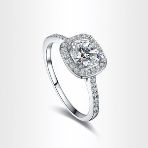 1PC Princess Square Diamond Ring Luxury Elegance Fashion