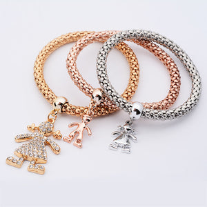 3Pcs Women Charm Pulseiras Pendant Bracelet Fashion Multilayer Bracelet