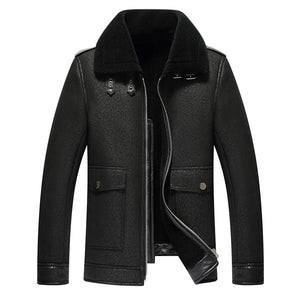 Winter Fashion Mens Leather Jacket Men's  Fur Leather Jacket And Coats Casual Coat