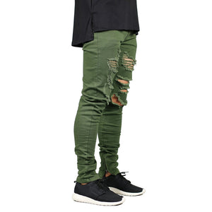 Men Zipper Destroyed Jeans Stretch Fashion Army Green  Skinny Jeans