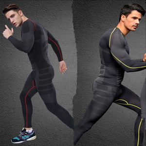 NEW ARRIVAL men active set [top and pantss] long sleeve t shirt elastic breathable quick dry fitness workout clothes