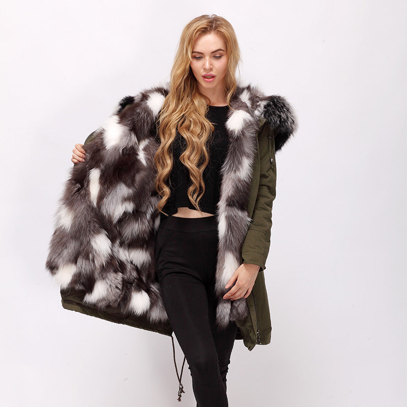 CNEGOVIK female Silver Fox Fur Lined cotton long Parka with racoon fur hood detachable high quality