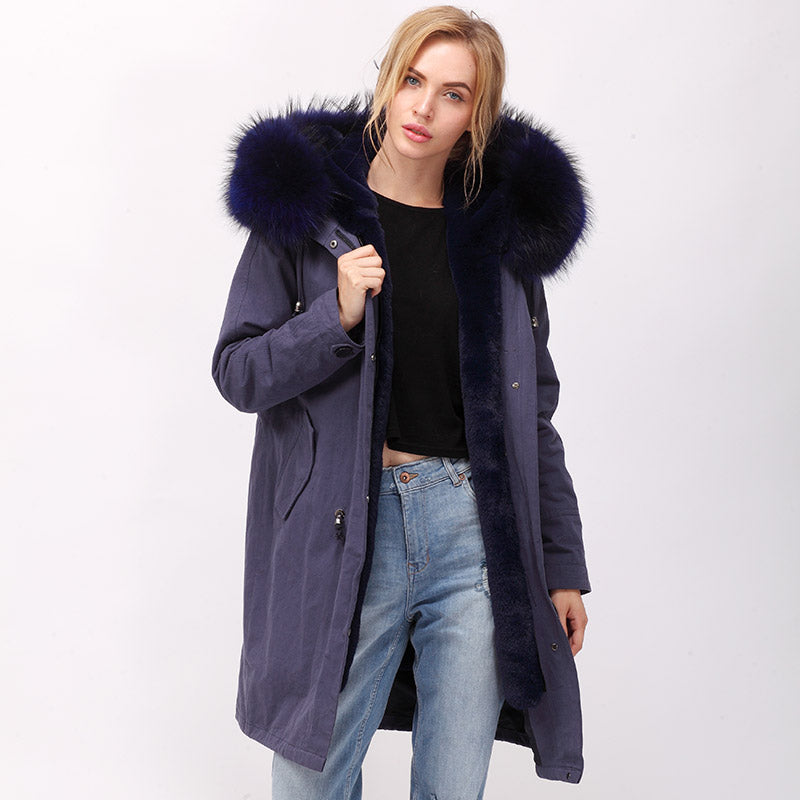 FAUX interior FUR parka women with natural raccoon hood