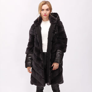 CNEGOVIK  rex rabbit fur coat stand-collar Women fur jacket designed with removable sleeves and hood down fills sleeves