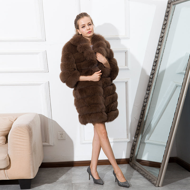 CNEGOVIK fox fur coat suit collar real fur jacket With genuine leather 85cm