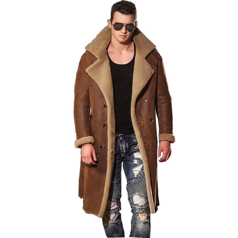 Male Leather Jacket Men's Long Leather Jackets