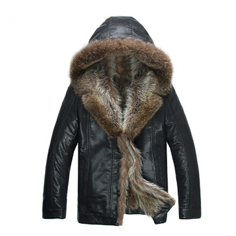 High Quality Men's Coats Imitation Leather Jacket Fashion Raccoon Fur Collar Leather Jackets