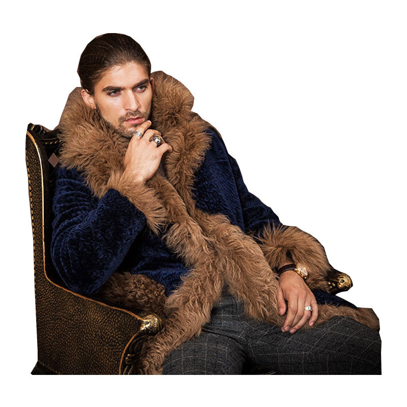 Mens  Fur Coats Long Trench Coat Fur Collar Leather Suede Jacket