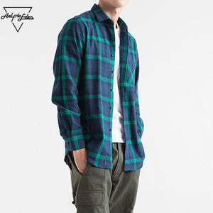 Aelfric Eden Men Shirt Casual Streetwear Flannel Ripped Plaid Shirt Long Sleeve Man Winter Turn-down Collar Hip Hop Shirts Ae018