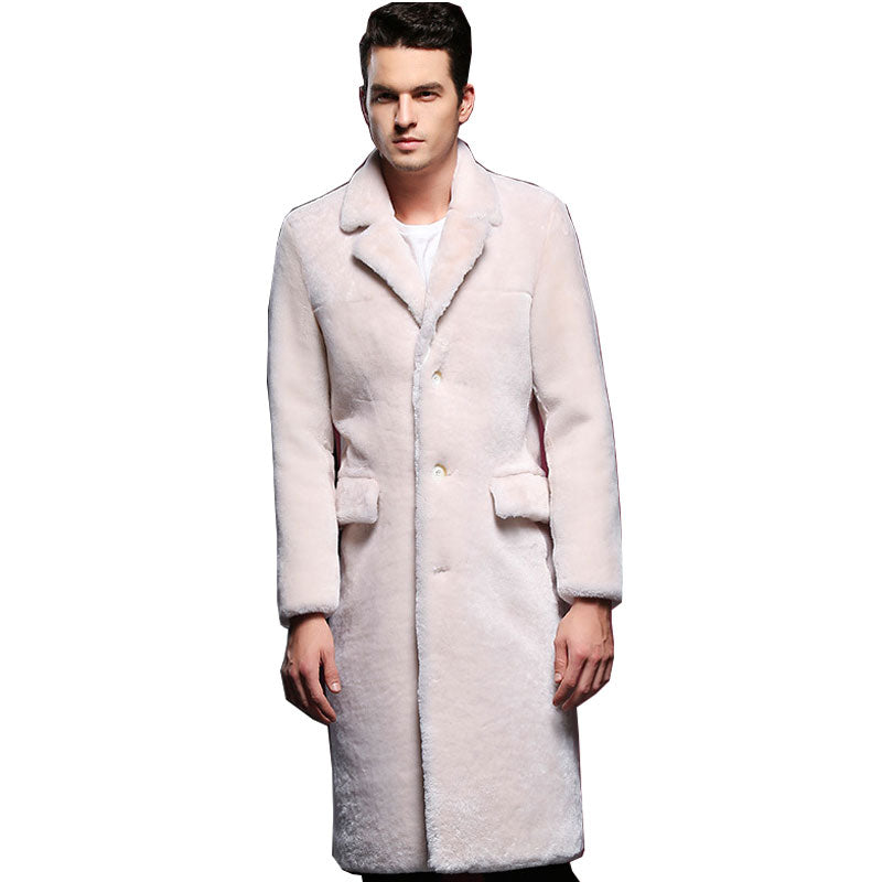 Men Fur Coat Winter Jackets Full Length Leather Overcoats With Collar Fur coats
