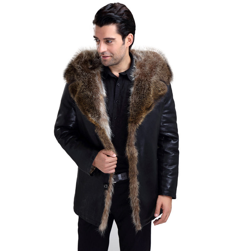 Winter Raccoon Fur Coat Natural Men Real Fur Lined Leather Jackets With Fur Collar Luxury Warm Overcoat Leather Jacket